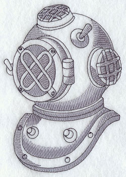 An antique diving helmet machine embroidery design.