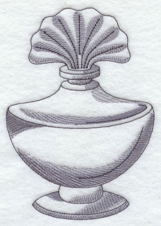 A vintage perfume bottle machine embroidery design.