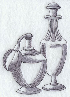 Vintage perfume bottles machine embroidery design.