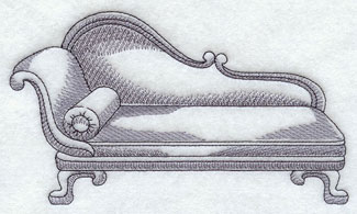 A fainting couch machine embroidery design.