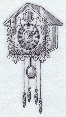 A vintage cuckoo clock machine embroidery design.
