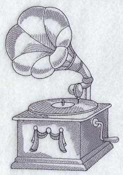 A phonograph machine embroidery design.