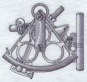 A sextant machine embroidery design.