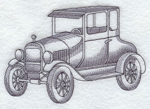 A Ford Model T machine embroidery design.
