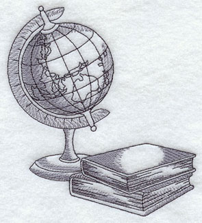A classic globe machine embroidery design.