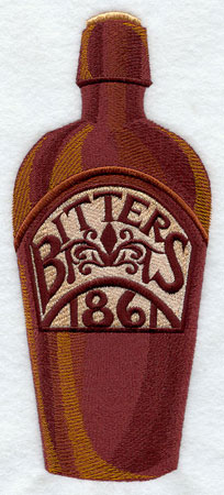 An antique bitters bottle machine embroidery design.