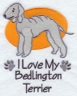 &quot;I Love My Bedlington Terrier&quot; dog machine embroidery design.