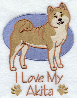 I Love My Akita dog machine embroidery design.