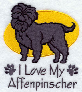 I Love My Affenpinscher dog machine embroidery design.