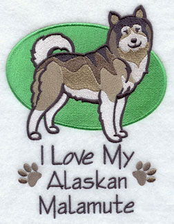 I Love My Alaskan Malamute dog machine embroidery design.