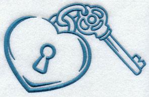 A heart-shaped locket and key.