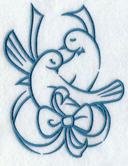Lovebirds wrapped in a ribbon.