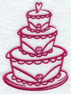 A three-tiered wedding cake.