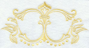 A dove and filigree wedding accent machine embroidery design, perfect for monogramming.