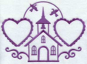 A chapel and hearts machine embroidery design with open areas for monogramming.