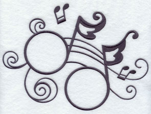 Musical notes machine embroidered design.
