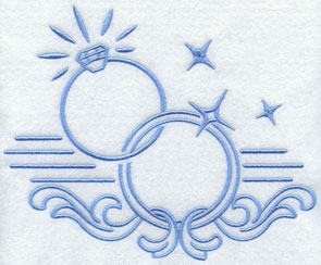 A wedding rings machine embroidery design with open areas for monogramming.