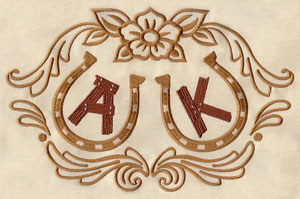 A horseshoe and flower design monogrammed with initials.