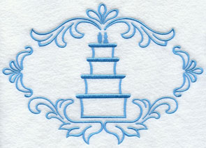 A wedding cake, perfect for monogramming.