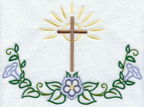 Cross and flowers machine embroidery design.