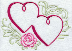 Machine embroidered hearts and rose.