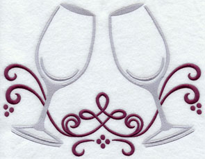 Two toasting champagne glasses machine embroidery design.
