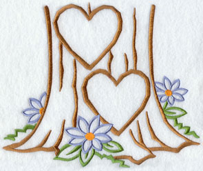 Two hearts carved into a tree trunk machine embroidery design.