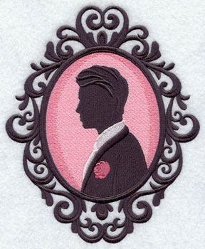 A groom silhouette in a cameo frame machine embroidery design.