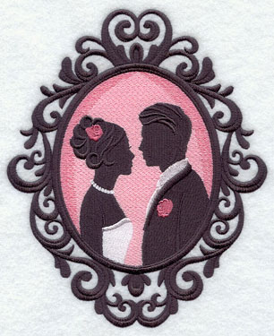 A bride and groom silhouette in a cameo frame machine embroidery design.