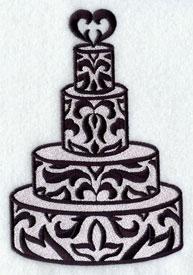 A damask wedding cake.