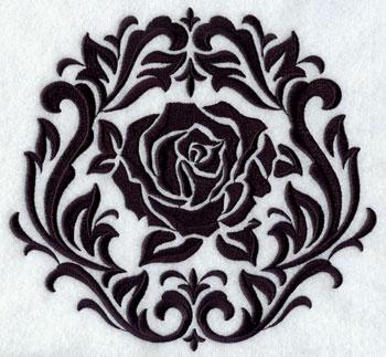 A damask rose inside a damask frame.