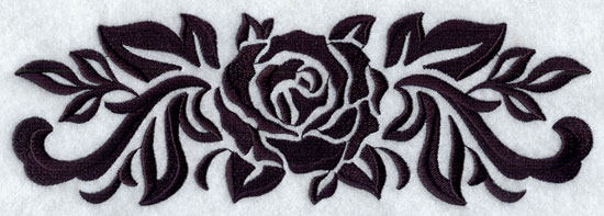 A damask rose machine embroidery border.