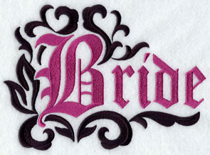 "The word ""bride"" in damask machine embroidery design."