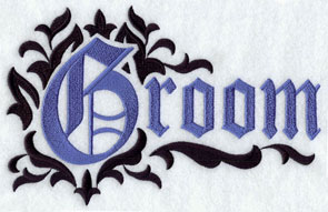 "The word ""groom"" in damask machine embroidery design."