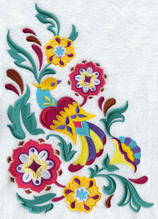 A suzani panel machine embroidery design with a bird, leaves, and flowers.