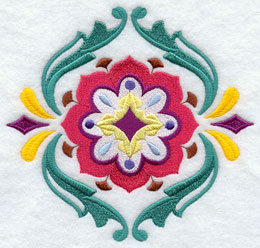 A machine embroidered Suzani flower medallion design.