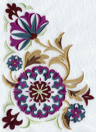 A suzani panel machine embroidery design with flowers and leaves.