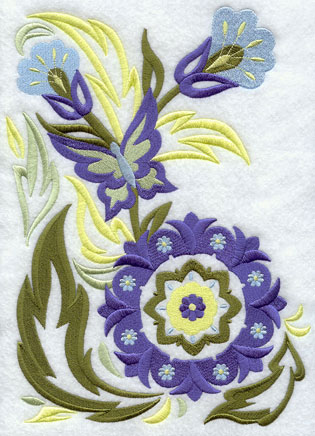 A suzani panel machine embroidery design with a butterfly, flowers, and leaves.
