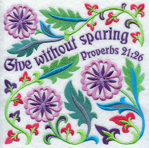 Ten Ways to Love machine embroidery design - Give without sparing, with flowers from the Bible (thistle).