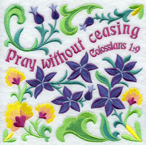 Ten Ways to Love machine embroidery design - Give without sparing, with flowers from the Bible (larkspur).