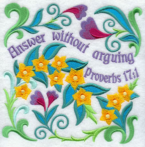 Ten Ways to Love machine embroidery design - Answer without arguing, with flowers from the Bible (loosestrife).