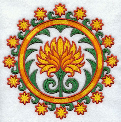 Suzani chrysanthemum medallion machine embroidery design.