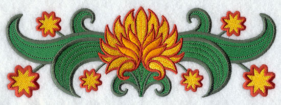 Suzani chrysanthemum border machine embroidery design.