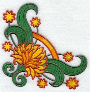 Suzani chrysanthemum corner machine embroidery design.
