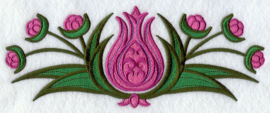 Suzani tulip border machine embroidery design.