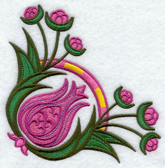 Suzani tulip corner machine embroidery design.