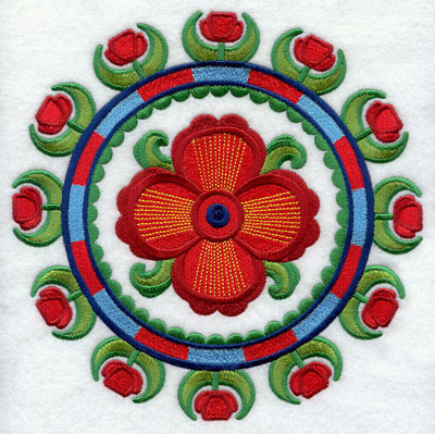 Suzani poppy medallion machine embroidery design.