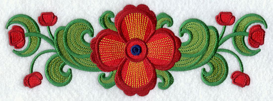 Suzani poppy border machine embroidery design.