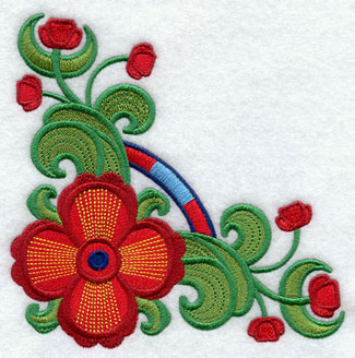 Suzani poppy corner machine embroidery design.