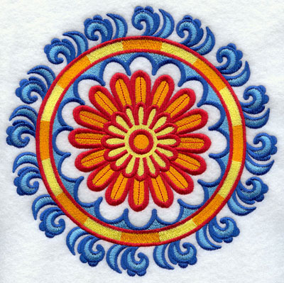 Suzani daisy medallion machine embroidery design.